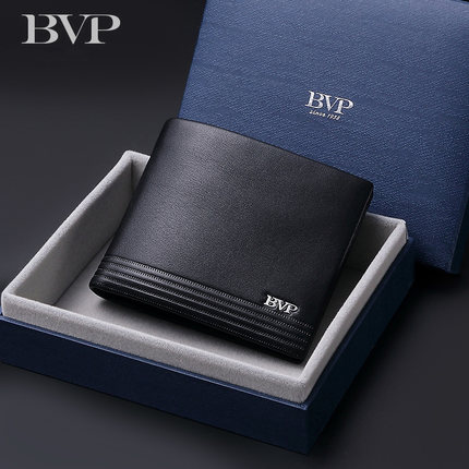 2019 Luxury Brand High Quality Cowhide Leather Short Man Wallet Credit card Genuine Leather Black Business