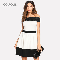 COLROVIE Daisy Lace Applique Two Tone Bardot Dress 2018 New Short Sleeve A Line Female Clothes