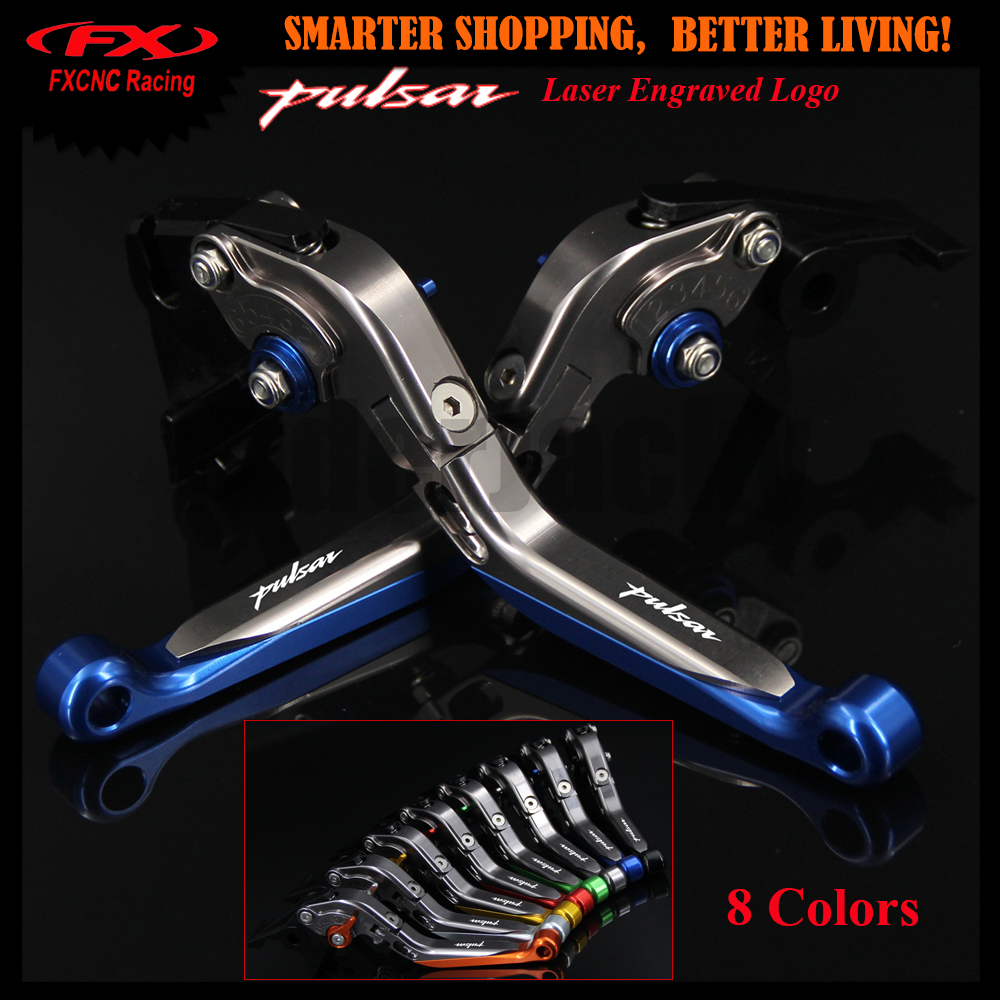Laser Logo CNC Blue+Titanium Motorcycle Adjustable Folding Extendable Brake Clutch Lever For Bajaj Pulsar 200 NS 200NS All year