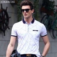 AIRGRACIAS Polo Shirt Summer Mens Polo Shirts Short Sleeve Geometric Pattern Slim Fit Shirt For Men