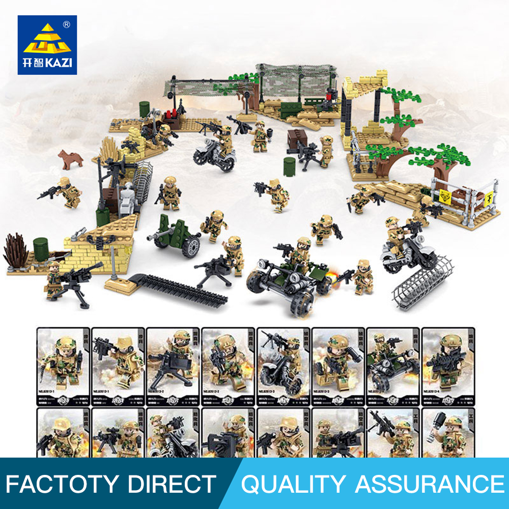 KAZI Military Wolf Tooth Field Army Soldiers SWAT Weapon Building Blocks leg0 military minifigures Toys for Children