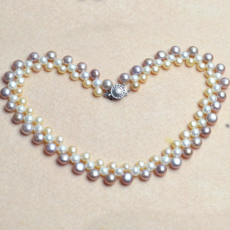 Round beads necklace natural freshwater pearl jewelry pearl necklace choker necklace fine jewelry vintage font b