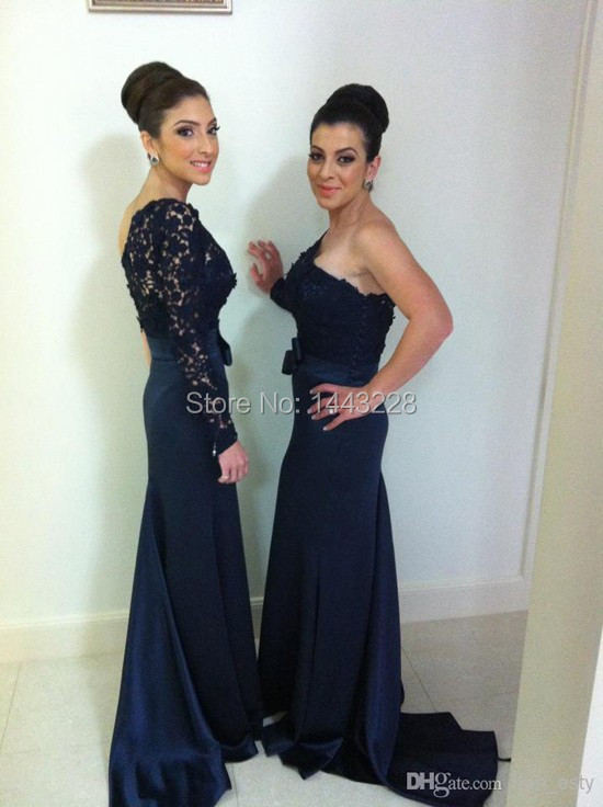 Long Venice Lace Satin One Shoulder Long Sleeve Fitted Navy Blue font b Bridesmaid b font
