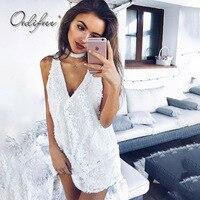 Ordifree 2018 Summer White Lace Beach Dress Sleeveless Short Tank Dress V Neck Sexy Sequin Mini