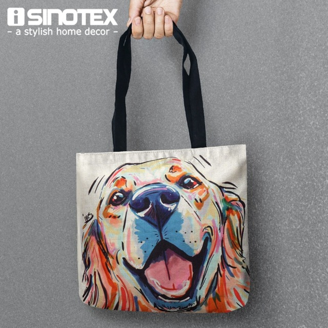 Color Dog Storage Bags Printed Bag Tote Convenience Women Shoulder Handbags Linen For Food 1