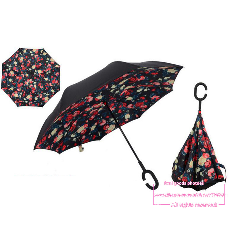 Cozzy Special Design Double Layer Inverted Umbrella Reverse Rainy Sunny with C shaped Hands Long Handle