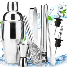 18oz Stainless8Pcs Steel Cocktail Shaker Bar Set Tools with Martini Mixer Double Measuring Jigger Professional Accessories