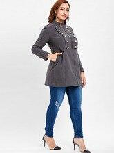 Plus Size Zipper Cotton Jacket for Women with Decorative Buttons
