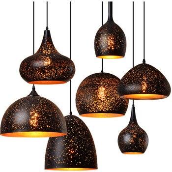 Retro LED Pendant Lights LOFT Art Hollow Carving Etched Wrought Iron Pendant Lamps Single Head Hollow lamp Bar Lighting Fixture Chandeliers