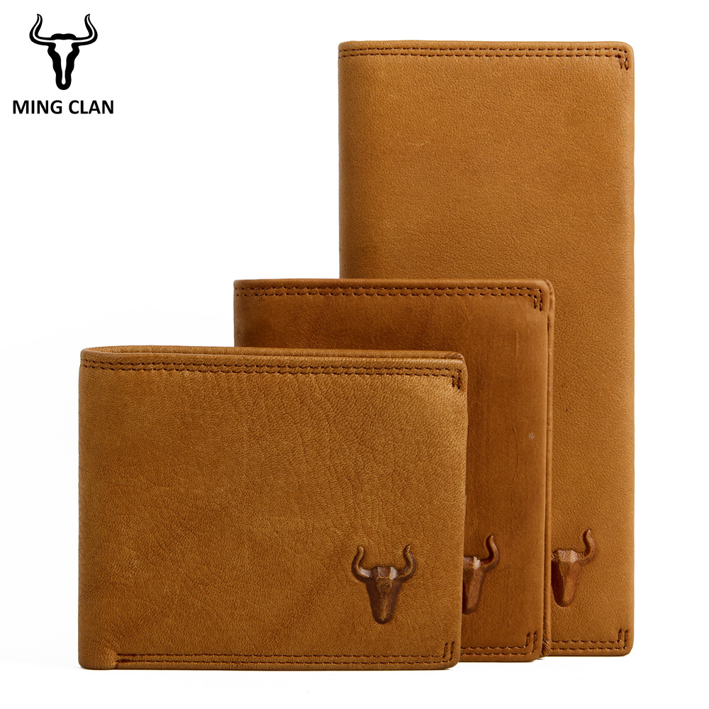 Mingclan Genuine Leather Wallets Men Women Portomonee Perse PORTFOLIO Rfid Slim Mini Purse Card Hodlers Male Wallet Money Bag mingclan genuine leather wallet men coin purse male cuzdan small wallet portomonee portfolio slim mini purse wallet money bag