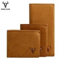 Mingclan Genuine Leather Wallets Men Women Portomonee Perse PORTFOLIO Rfid Slim Mini Purse Card Hodlers Male Wallet Money Bag