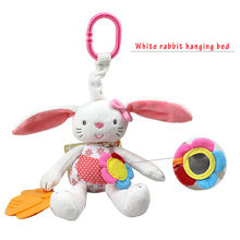 Rabbit Rattles With mirror strolls hanging bed Infants doll plush toys With teether animal kids teddy toys for baby(China)
