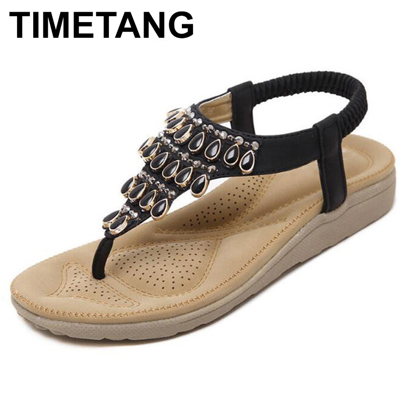 TIMETANG Flip Flops Women Sandals Summer Style Zapatos Mujer Rhinestone Wedge Low Heels Shoes Woman Sandalias Mujer C050 summer flat sandals ladies jelly bohemia beach flip flops shoes gladiator women shoes sandles platform zapatos mujer sandalias