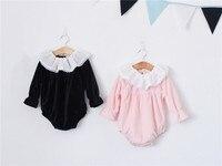 Nieuwe Lente Pasgeboren Baby Romper Longsleeve Verstoorde Pleuche Overalls Kant Rompertjes Baby Kleding Outfits