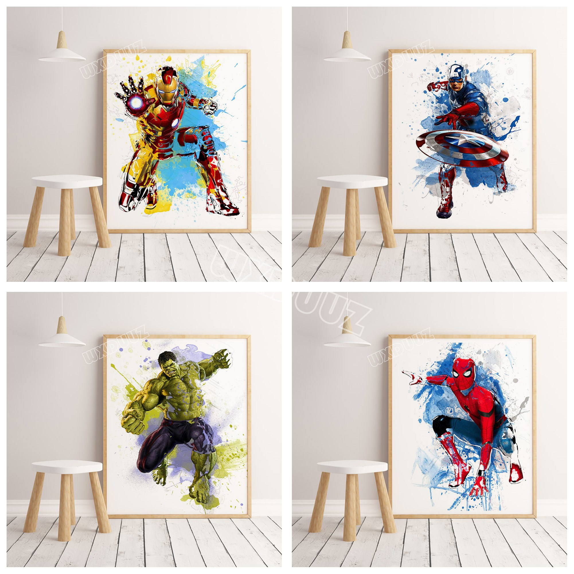 2019 watercolor marvel superhero movie Avengers: Endgame poster pictures for children's room decoration canvas painting K295