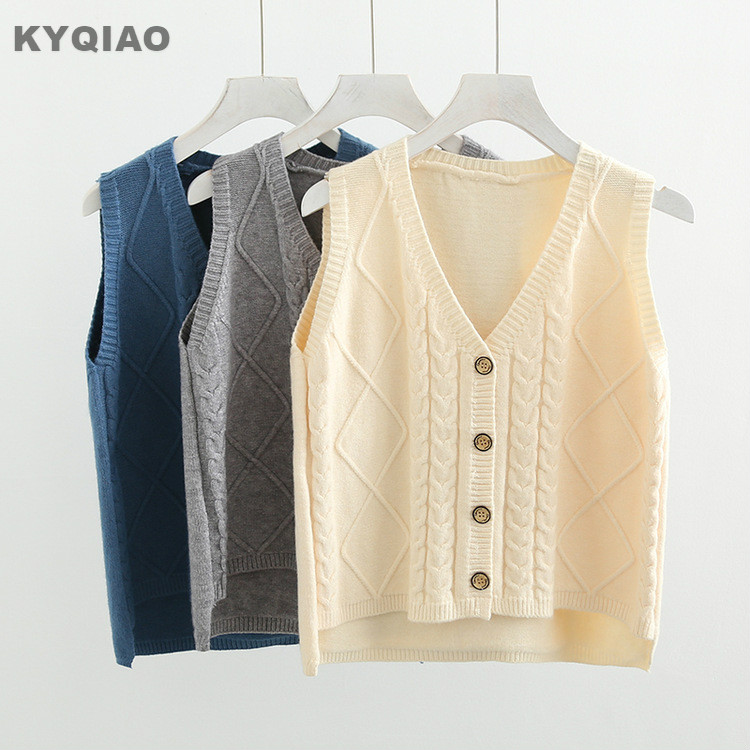 3891cd879936 Women Cute Mori Girl Knitted Tops Ladies Vests Sleeveless Sweaters V ...