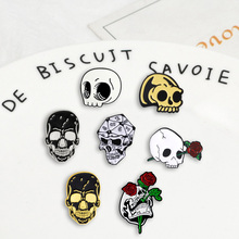 Skull series punk Badges Brooches skeleton rose combination Denim Enamel lapel pins Gifts for medicine friends Jewelry wholesale