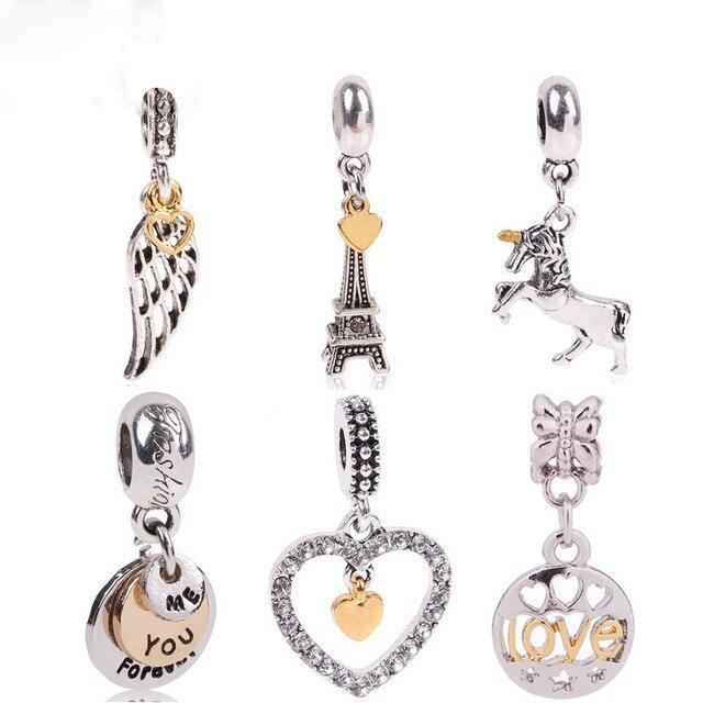318e2b3795c0 Color plata entrelazados amor CZ colgante de doble corazón encanto perlas  encajar Pandora pulsera collar de