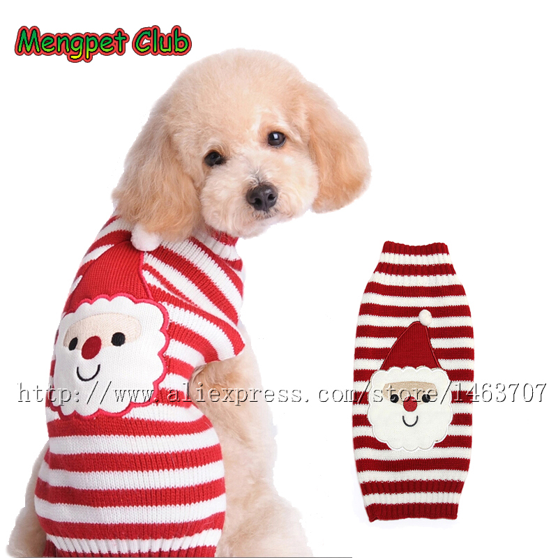 New Pet Christmas Sweater Stripe Design Dog Clothes Puppy Sweater Fashion Xmas Clothing for Dogs & Cats 7 Size Available
