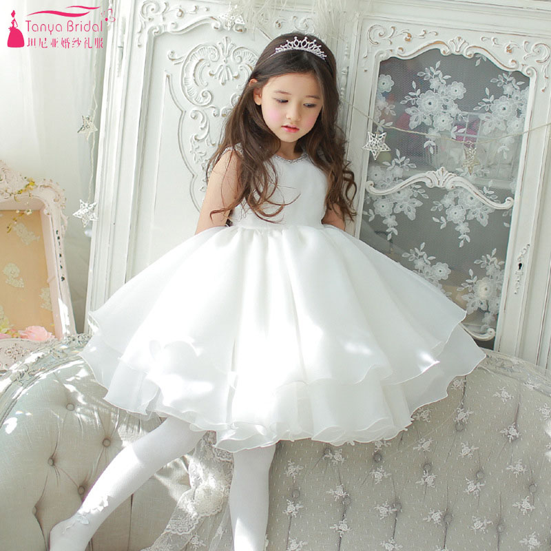 Cute White   Flowers     Girls     Dresses   Knee Length Pageant Gowns Little   girl   Gowns ZF119