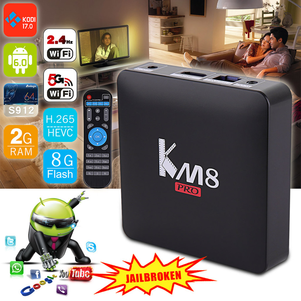 Prix pour D'origine KM8 PRO TV Box Android 6.0 Amlogic S912 Octa Core 2 GB 16 GB 2.4G/5G WiFi KODI 17 IPTV Europe Smart TV Box Media Player