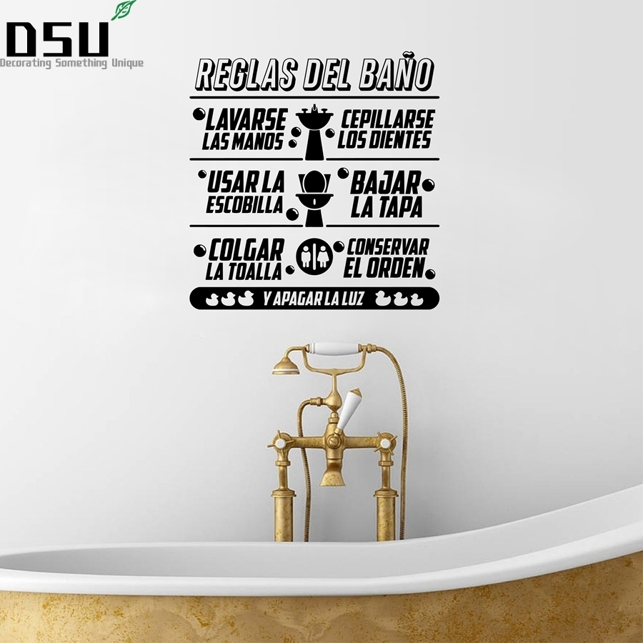 Spanish Bathroom Rules Quotes Vinyl Wall Sticker Children Bathroom Art Design Decals Mural Spanish Wall Sticker Home Wallpaper