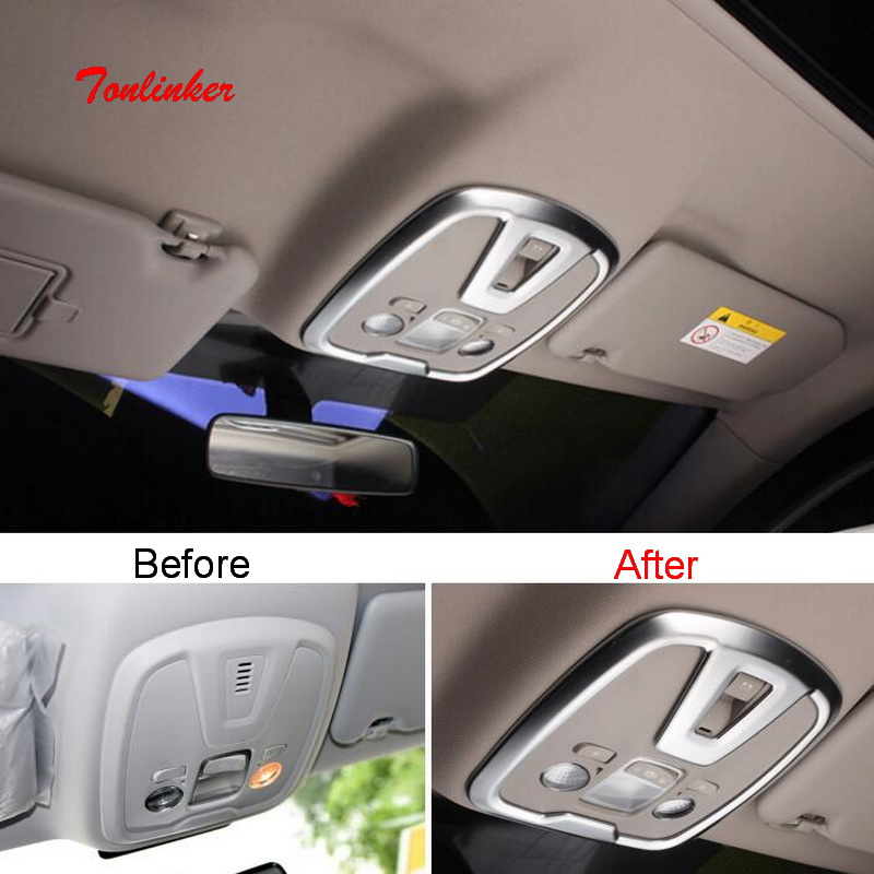 Tonlinker Interior Front/Rear Readlights Cover Sticker For Peugeot 308 T9 2014-19 Car Styling 2 PCS ABS Carbon Cover Sticker
