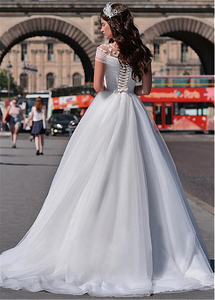 Image 3 - Wonderful Tulle Jewel Neckline A line Wedding Dresses With Beaded Lace Appliques Short Sleeves Bridal Dresses lace dress