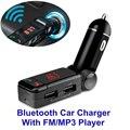 Lcd cargador de bluetooth con manos libres reproductor de mp3/fm radio transmisor adaptador de cargador usb para el iphone/samsung/htc android