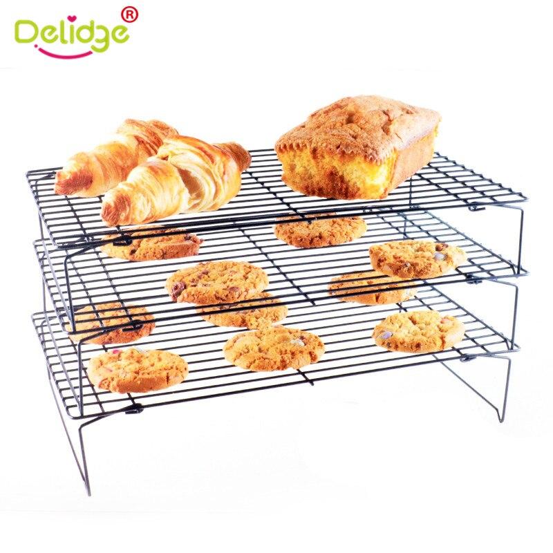 Delidge 1 pz 3-Tier antiaderente Raffreddamento Raffreddamento Rack 3D In Acciaio Inox griglia Teglia Per Biscotti Torta di Pane di Cottura Della Torta Cremagliera Hot