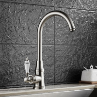 Antique Brushed Nickel Kitchen Sink Mixer Cold And Hot Water Mixer Brass 360 Swivel Classic Style