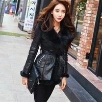 Высокая конец натурального меха лисы пояса молния толстый шипованных плеча Pad Для женщин Длинные зимняя куртка пальто