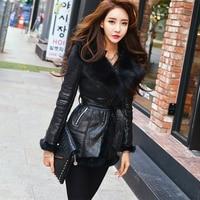 High end Genuine Fox Fur Sashes Zipper Thick Studded Shoulder Pad Women's Long Winter Jacket Coat