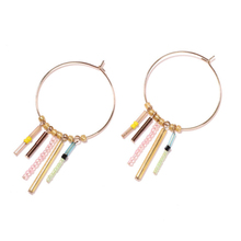 aiboduo Fashion Earring Simple Gold Color Silver Plated Geometric Big Round Earrings For Women Hollow Drop