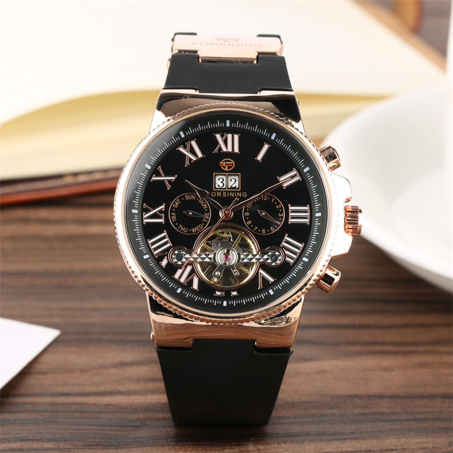 Chronograph Men&#39s Watch Mechanical Automiatic Movement Tourbillon Roman Numerals Display Men&#39s Genuine Leather WristwatcheChronograph Men&#39s Watch Mechanical Automiatic Movement Tourbillon Roman Numerals Display Men&#39s Genuine Leather Wristwatche