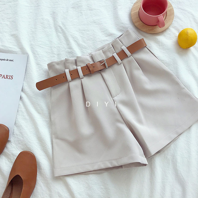 CamKemsey Korean Brief Design White Suit Shorts For Women 2019 Fashion Solid High Waist Wide Leg Shorts With Belt 5 Colors 5