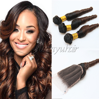 Guanyuhair Malaysian Virgin Hair Ombre Brown Spring Bouncy Curls Hair Bundles With Lace Closure Human Hair Weave 2T #1B/4 Color