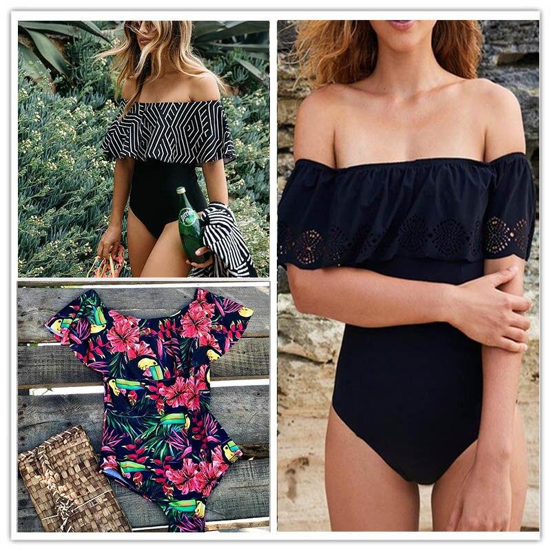 2018 Nuovo Sexy Al Largo Della Spalla Solido Costumi Da Bagno Delle Donne di Un Pezzo del Costume Da Bagno Femminile Costume Da Bagno Ruffle Monokini Costumi Da Bagno XL