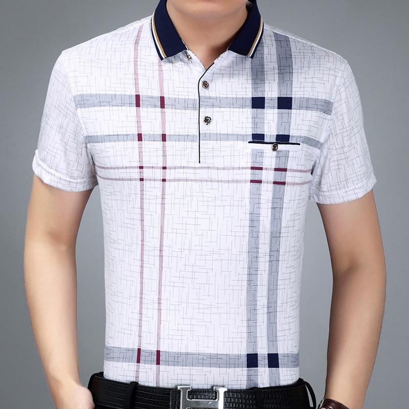 2019 new mens clothing short sleeve polo shirt summer pol men plaid brands polos tee shirts dress streetwear male poloshirt 7185