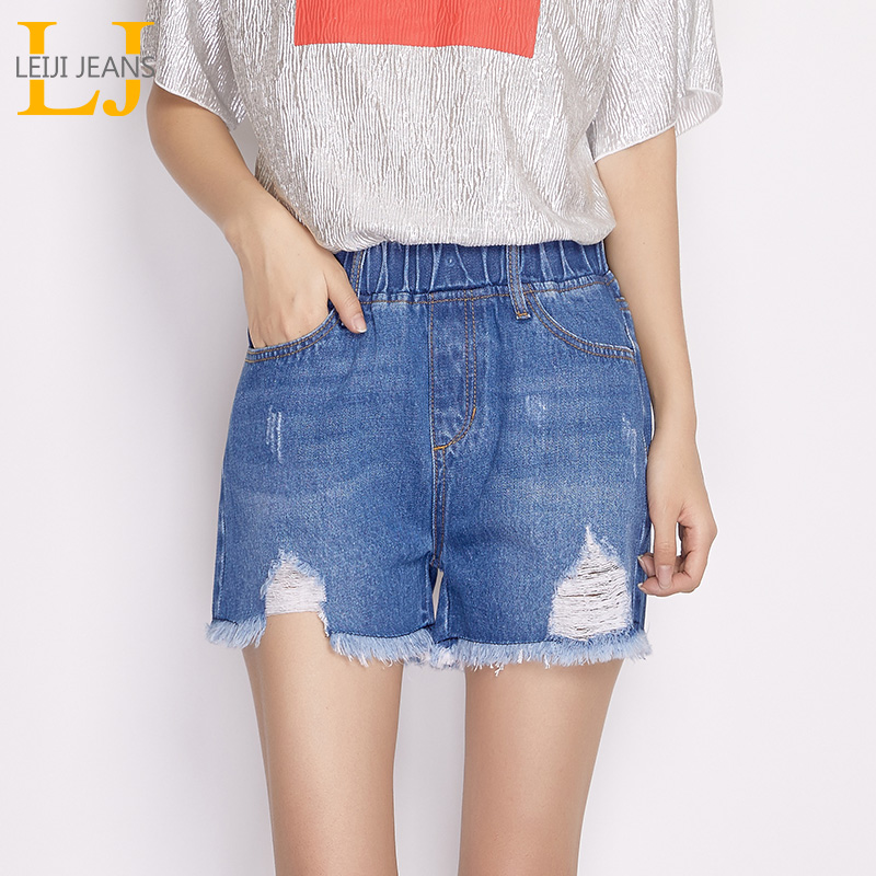 LEIJIJEANS Spring and summer new elastic waist   short   jeans Vintage worn fringe denim   shorts   for women with summer beach