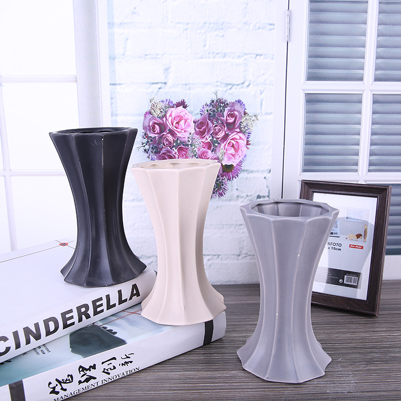 Home Decor Accessories Vase Ceramic Tabletop Flower Vases For Decoration Modern Style Flower Plant Seed Pot Water Plant Vase