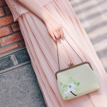 Angelatracy 2019 New Arrival Embroidery Floral Flower Lotus Green Chinese Style National Women Shoulder Bag Crossbody Totes
