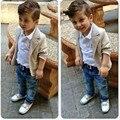 2017 новый стиль Моды baby boy одежда джентльмен Комплект Одежды Детей пальто + Футболка + Брюки 3 Шт. Наборы 2 4 6 8 года Дети Костюмы