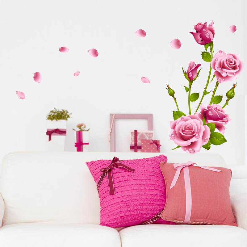 Rose Wall Decal Sticker Home Store Decor Diy Removable Art Vinyl Mural For Living Room Sofa Bedroom Tv Background Qtb181