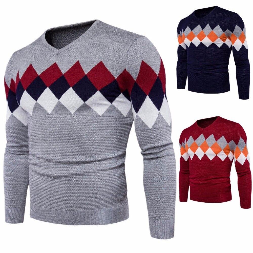 2017 Мужская хлопок v-образным вырезом решетки-стиль свитера Мужская мода, тонкий свитер с длинным рукавом для мужчин осень зима ...