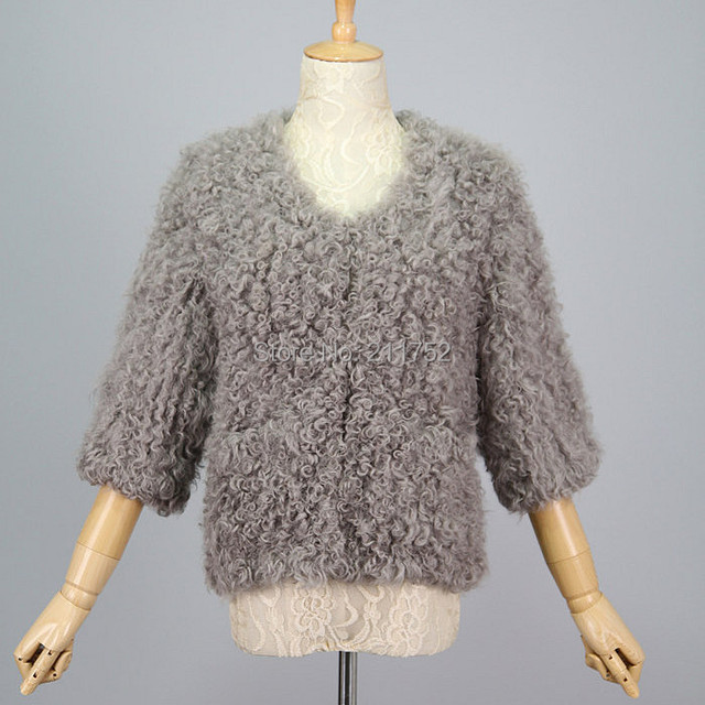 High Fashion 2014 New natural lamb fur Jacket real Fur Knitted Coat
