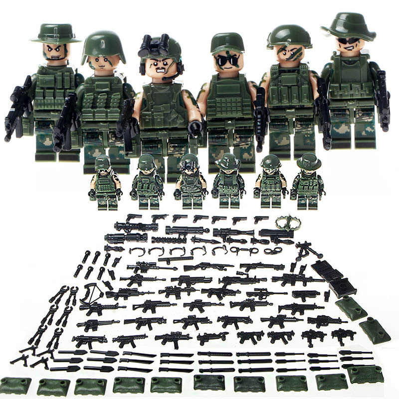 New Legoing Military Swat Minifigure Ww2 Mini Figures with Gun Weapon Building Blocks Toys For Children Enlighten Gift