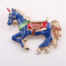 Foreign trade new fashion jewelry alloy drop glaze lucky horse brooch brooches coat accessories Factory direct sale
