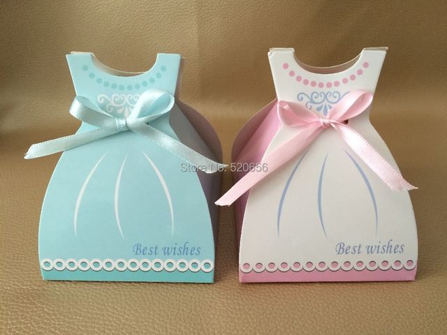 big bridal shower favor dress candy box wedding gift boxes pink blue baby shower favor kid