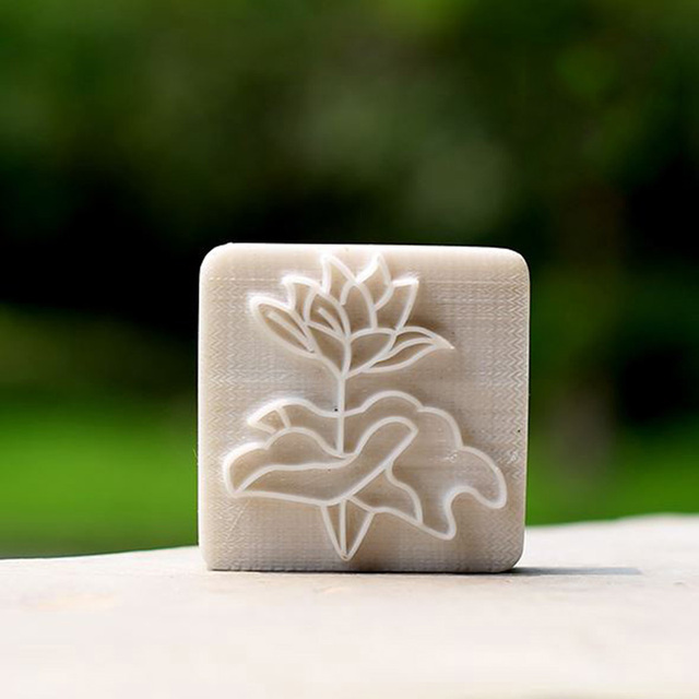 New design lotus pattern soap stamp custom diy homemade soap free
